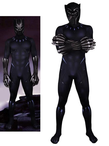 Milanoo Marvel Comics Black Panther Marvel Comics Halloween Cosplay Costume Lycra Spandex Catsuit Jumpsuit