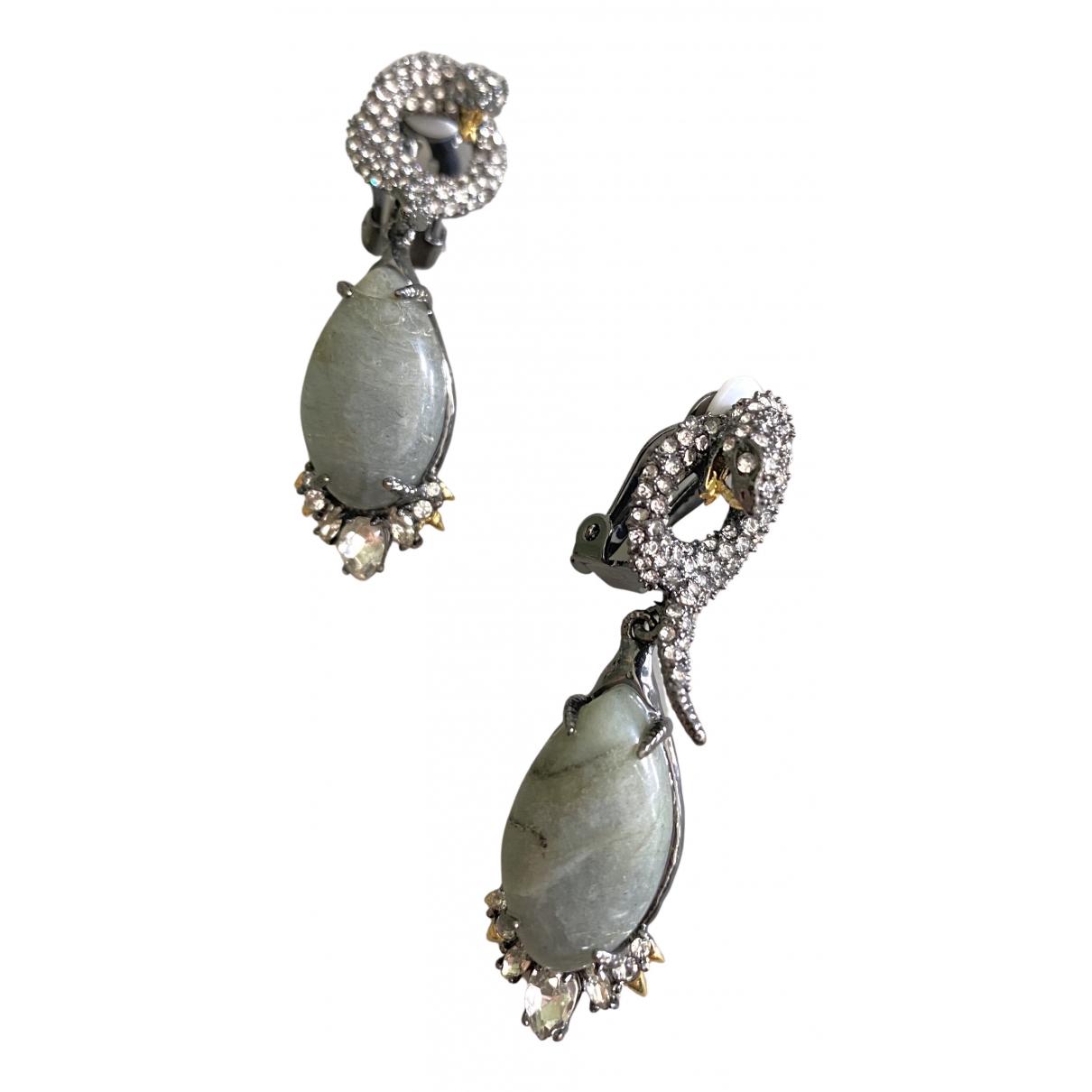 Non Signé / Unsigned Motifs Animaliers Grey Metal Earrings for Women N