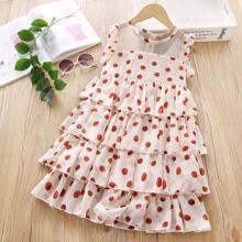 Toddler Girls Mesh Panel Polka Dot Layered Dress