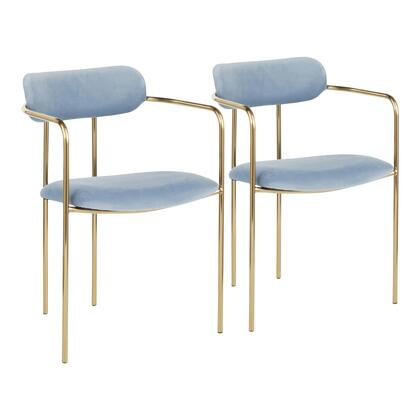 CH-DEMI AUVBU2 Demi Contemporary Chair in Gold Metal and Light Blue Velvet- Set of