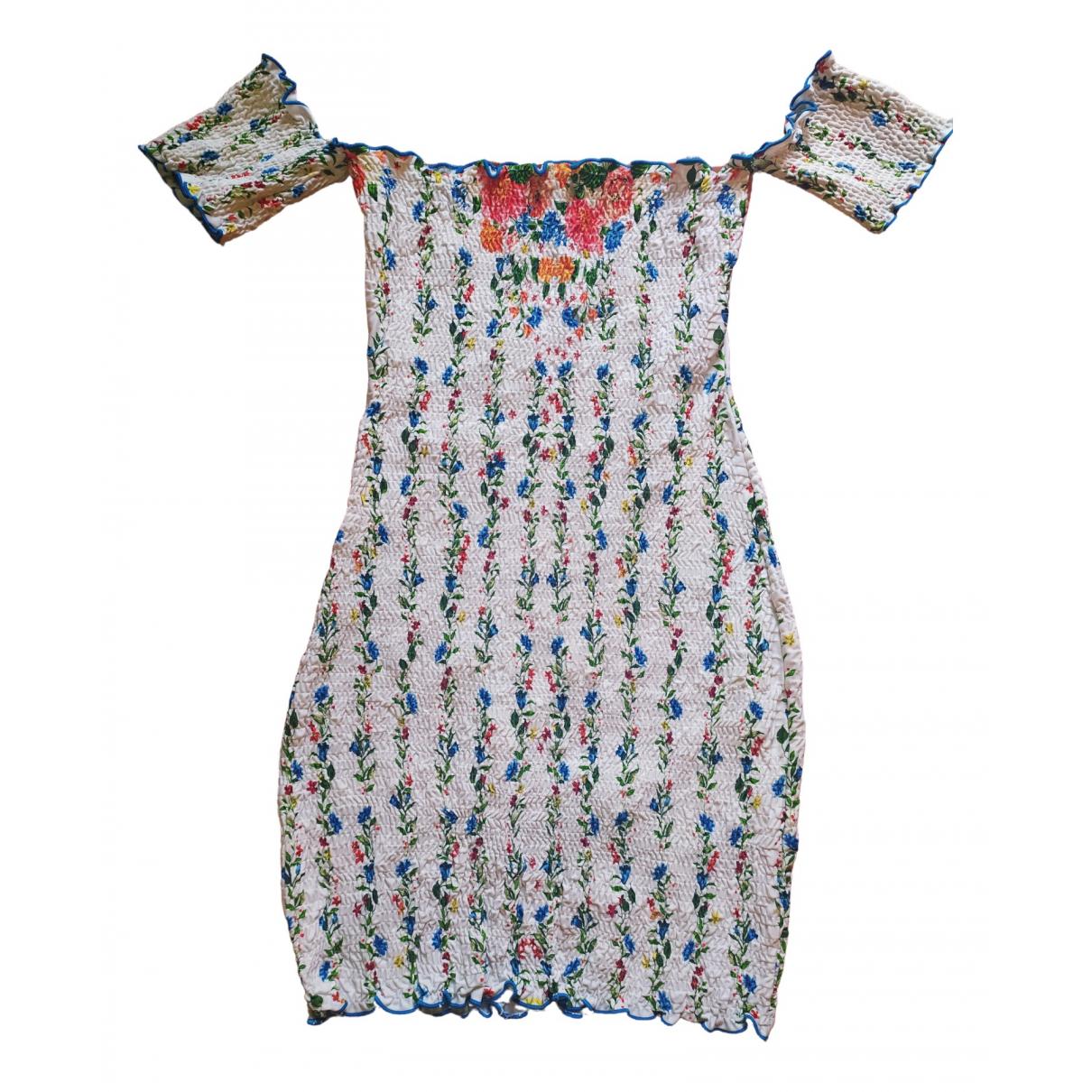 - Robe   pour femme en coton - elasthane - blanc