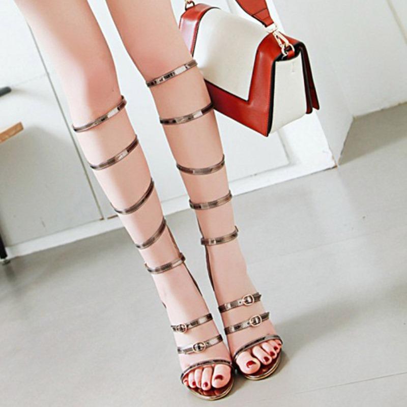 Ericdress Open Toe Stiletto Heel Zipper Sweet Sandals