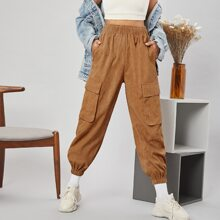 Elastic Waist Flap Pocket Cord Pants