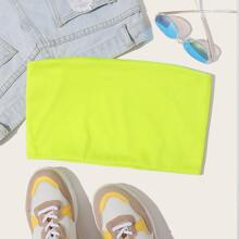Neon Lime Tube Crop Top