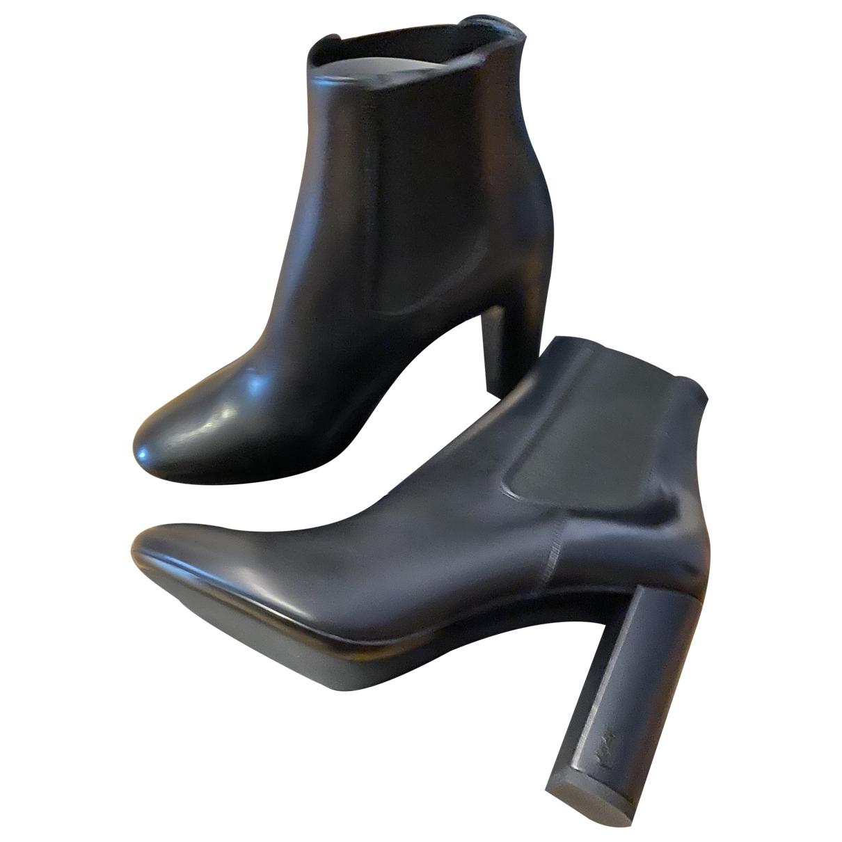 Saint Laurent Loulou Black Leather Ankle boots for Women 41 EU