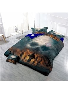 Pirate Ships and Skull Wear-resistant Breathable High Quality 60s Cotton 4-Piece 3D Bedding Sets