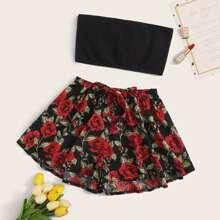 Solid Tube Top & Floral Shorts PJ Set