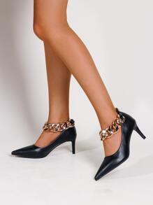 Chain Decor Stiletto Heeled Court Heels