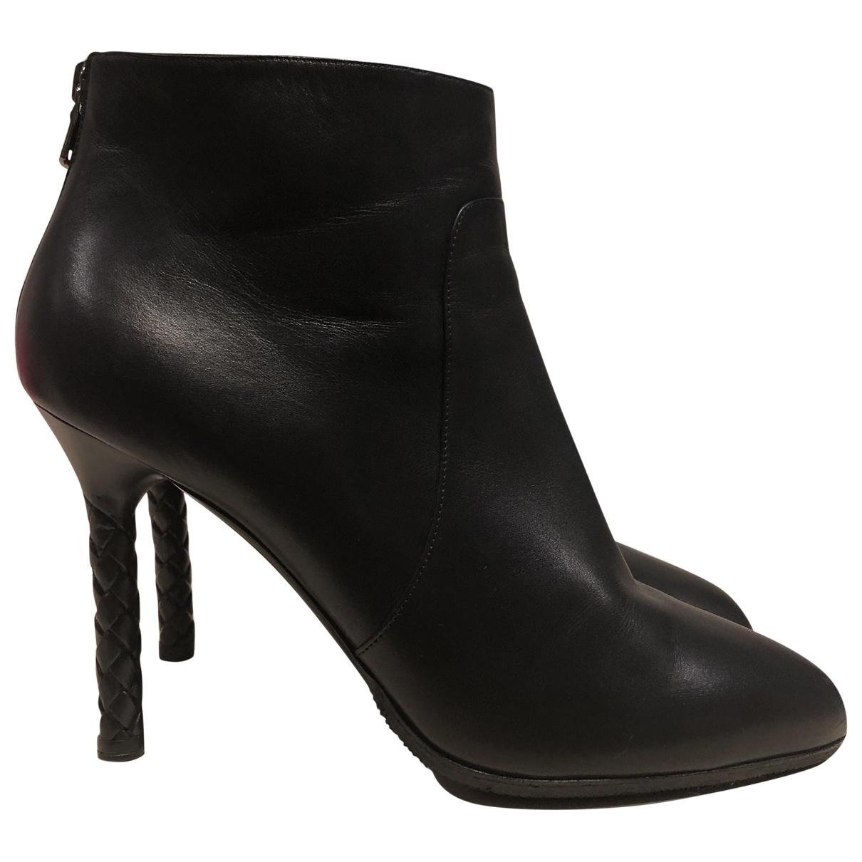 Bottega Veneta \N Black Leather Ankle boots for Women 40.5 EU