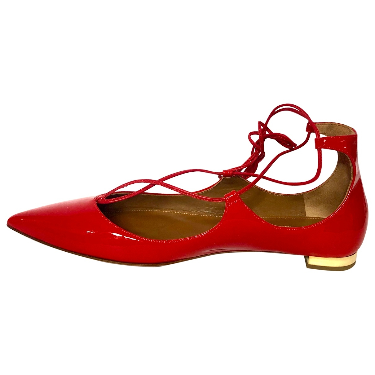 Aquazzura Christy Red Patent leather Ballet flats for Women 39.5 EU