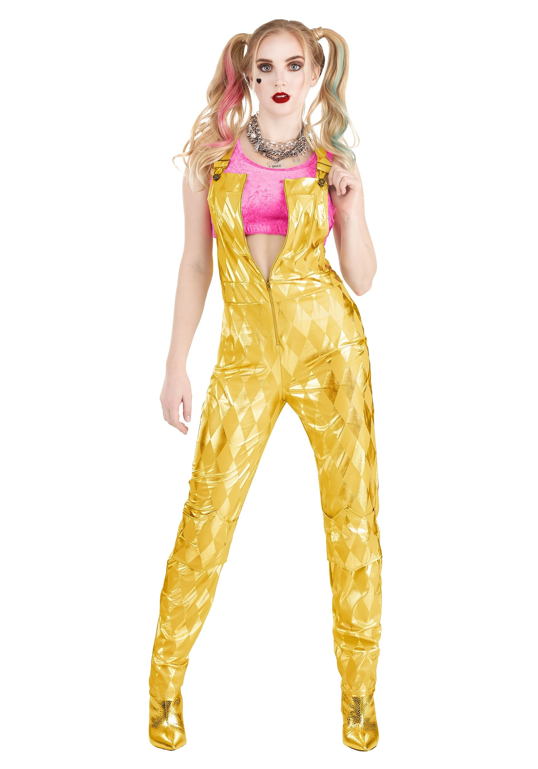 Womens Harley Quinn Gold Overalls Costume