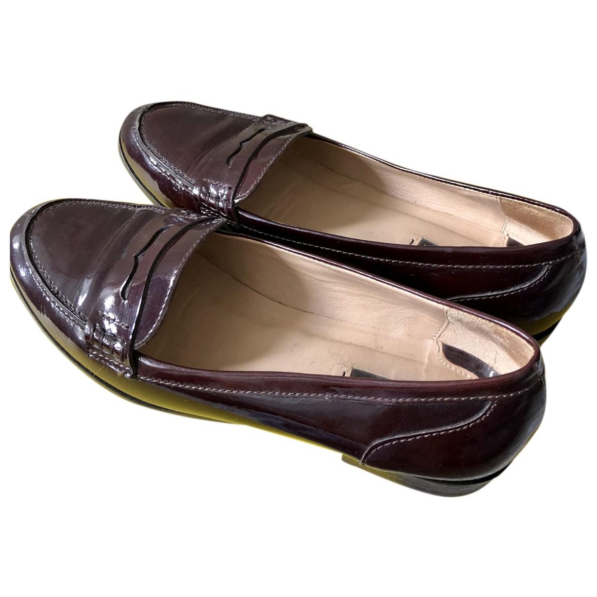 Massimo Dutti N Burgundy Patent leather Flats for Women 39 EU