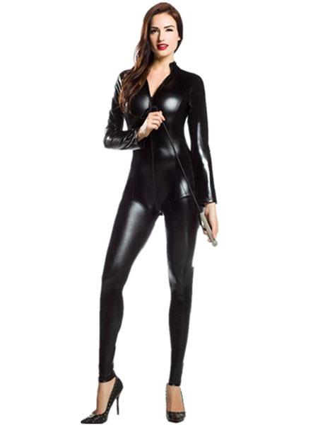 Milanoo Disfraz Halloween Sexy traje metalico brillante Zentai negro para las mujeres Halloween