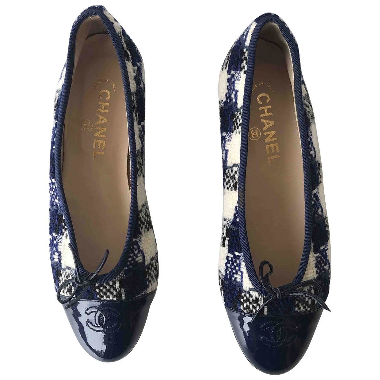 Chanel \N Ballerinas in  Blau Tweed