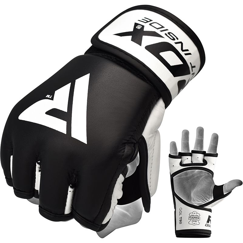 RDX T9 MMA Training Gloves Leather Small Black/White