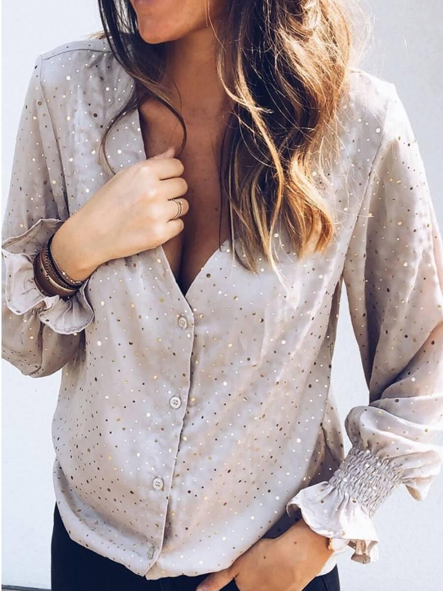 LW Lovely Casual V Neck Print Horn Sleeve Grey Shirt