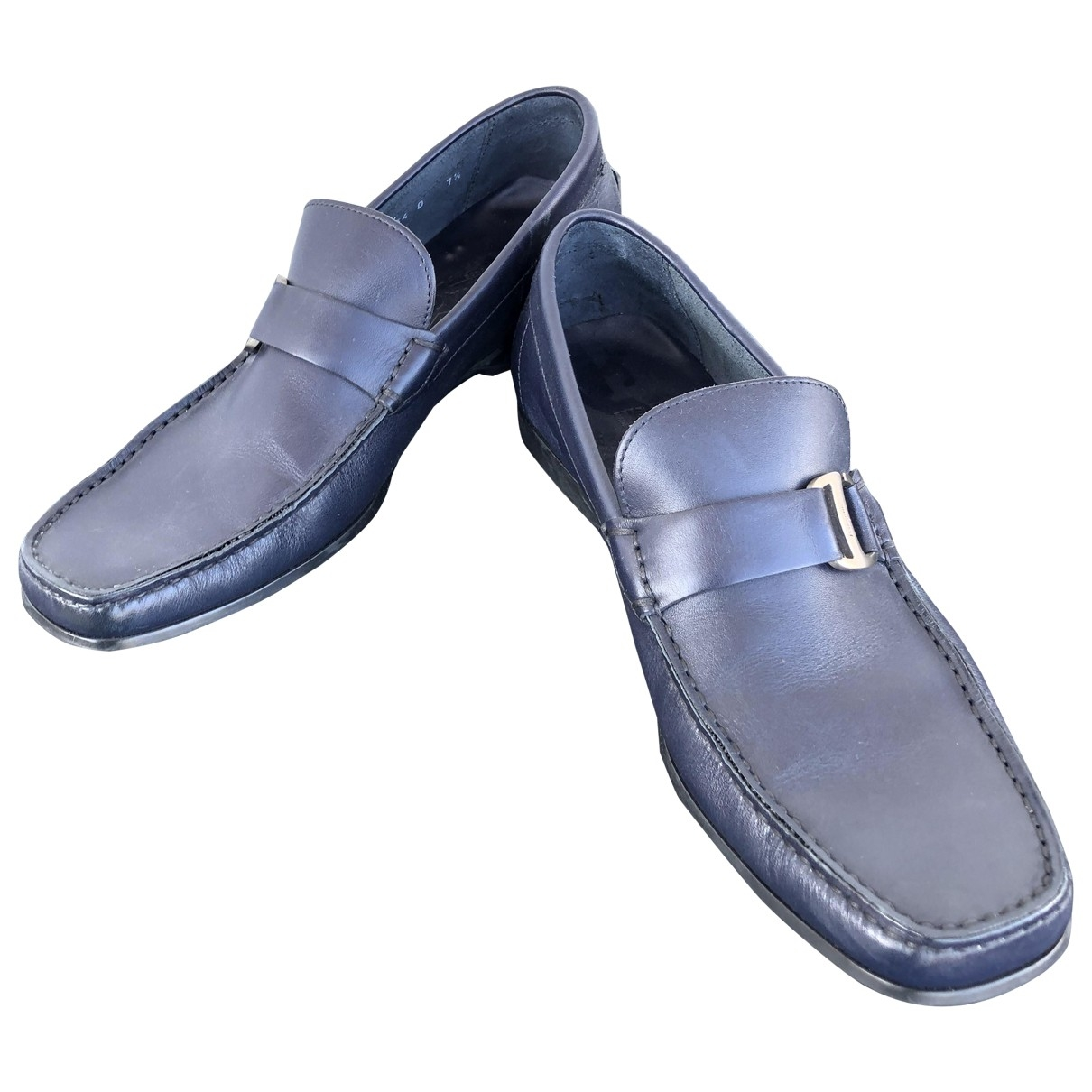 Salvatore Ferragamo \N Blue Leather Flats for Men 40.5 EU