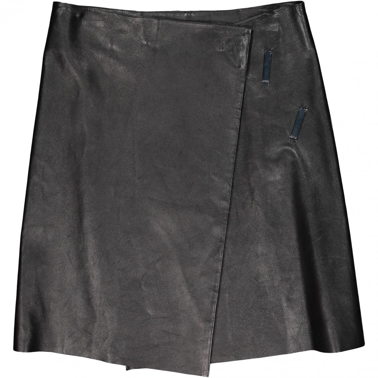 Celine \N Black Leather skirt for Women 42 FR