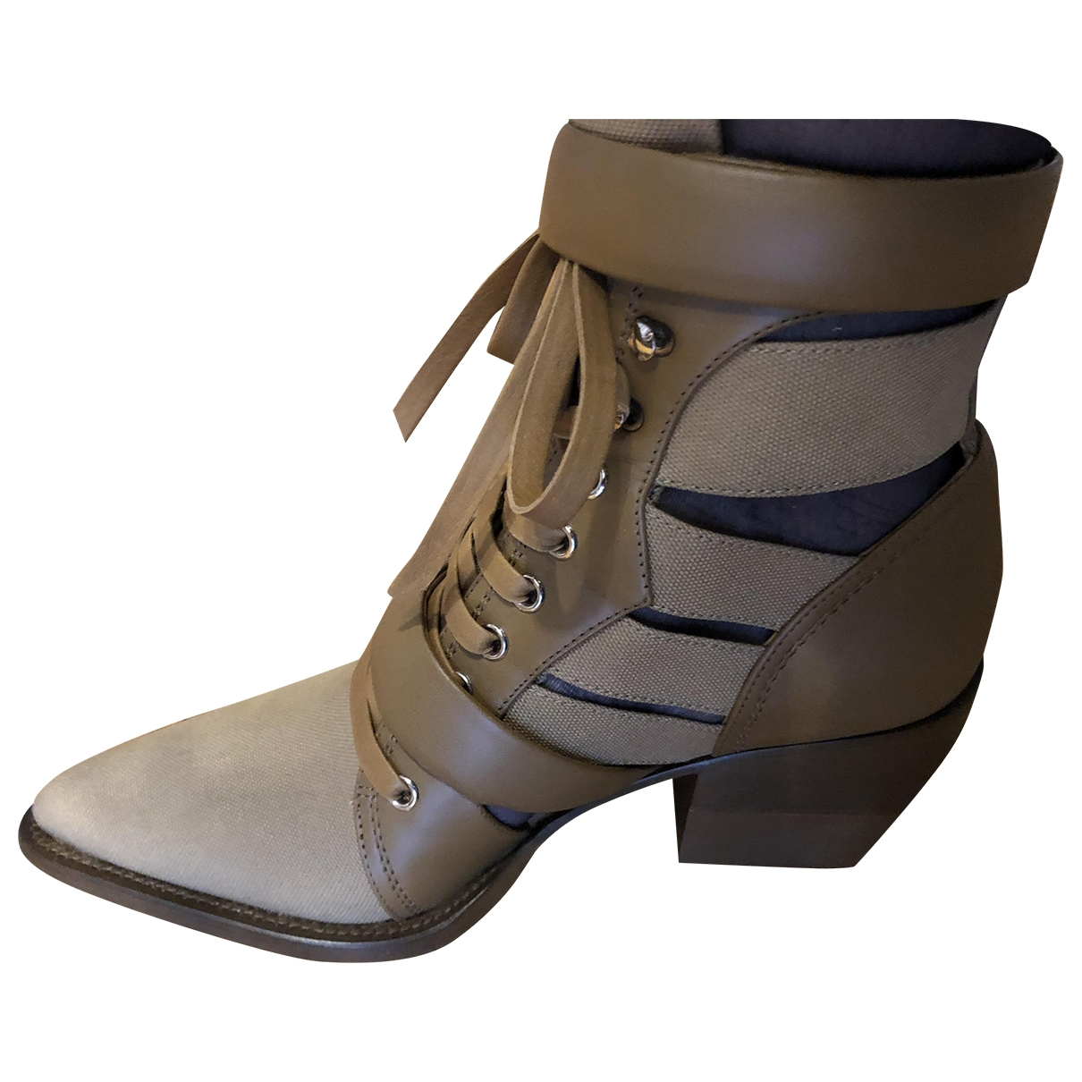 Chloé Rylee Camel Cloth Ankle boots for Women 40 EU