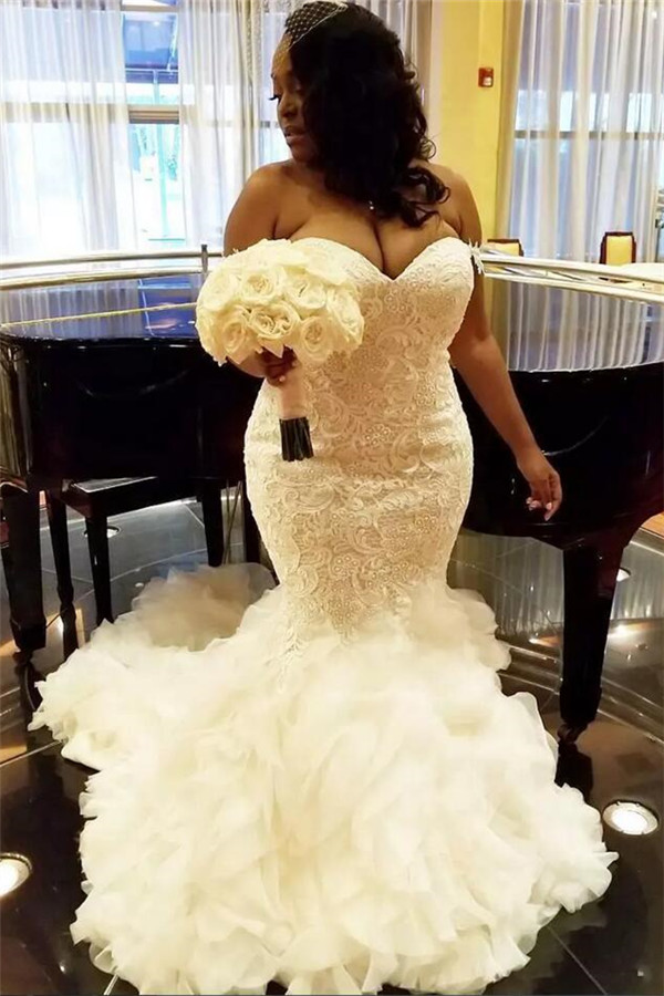 Wholesale Sweetheart Fit and Flare Lace Wedding Dresses | TieScarlet Ruffles Tulle Bridal Dress with Court Train