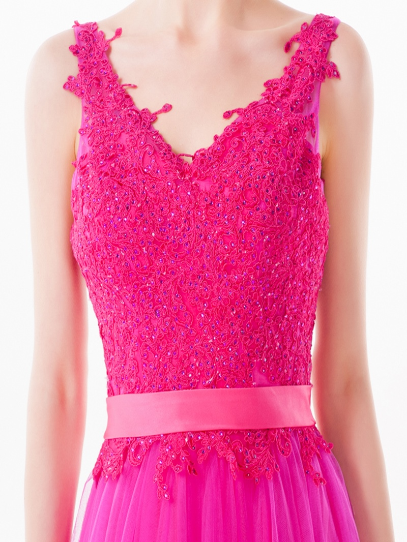 Ericdress A-Line Sleeveless Appliques Floor-Length Prom Dress