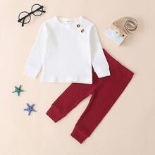 Outfits dos piezas para niña pequeña Boton Monocolor Casual
