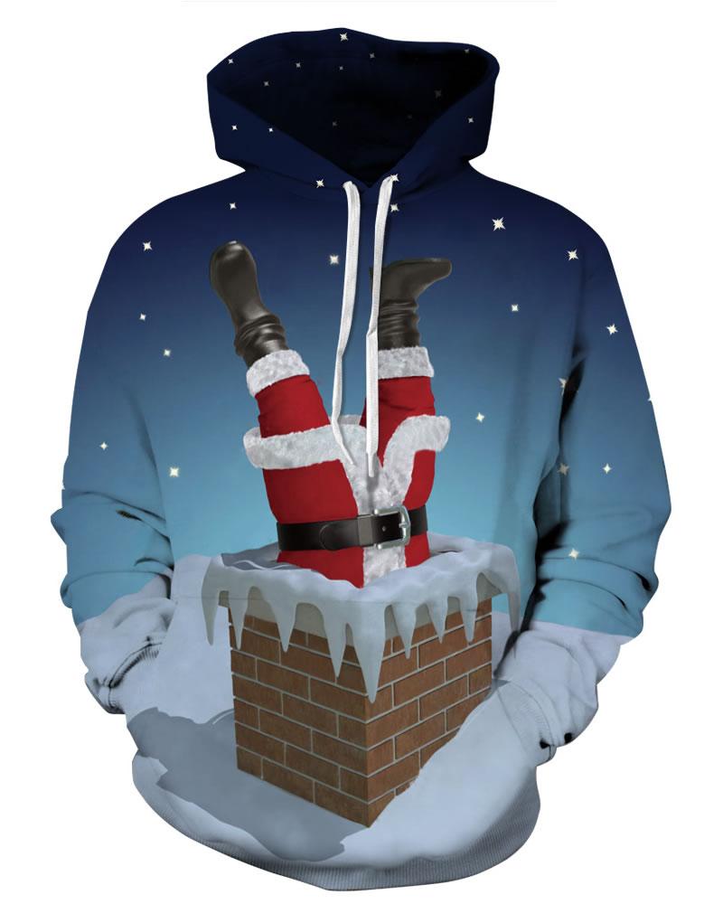 Long Sleeve Santa Falling in Chimney Christmas Pattern 3D Painted Hoodie