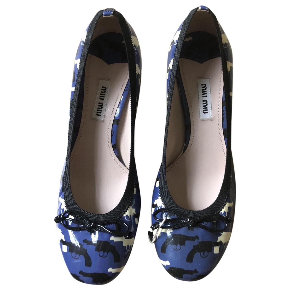 Miu Miu - Escarpins   pour femme en cuir - bleu