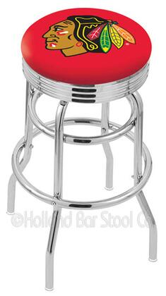 L7C3C25ChiHwk-R 25 L7C3C - Chrome Double Ring Chicago Blackhawks Swivel Bar Stool with 2.5 Ribbed Accent