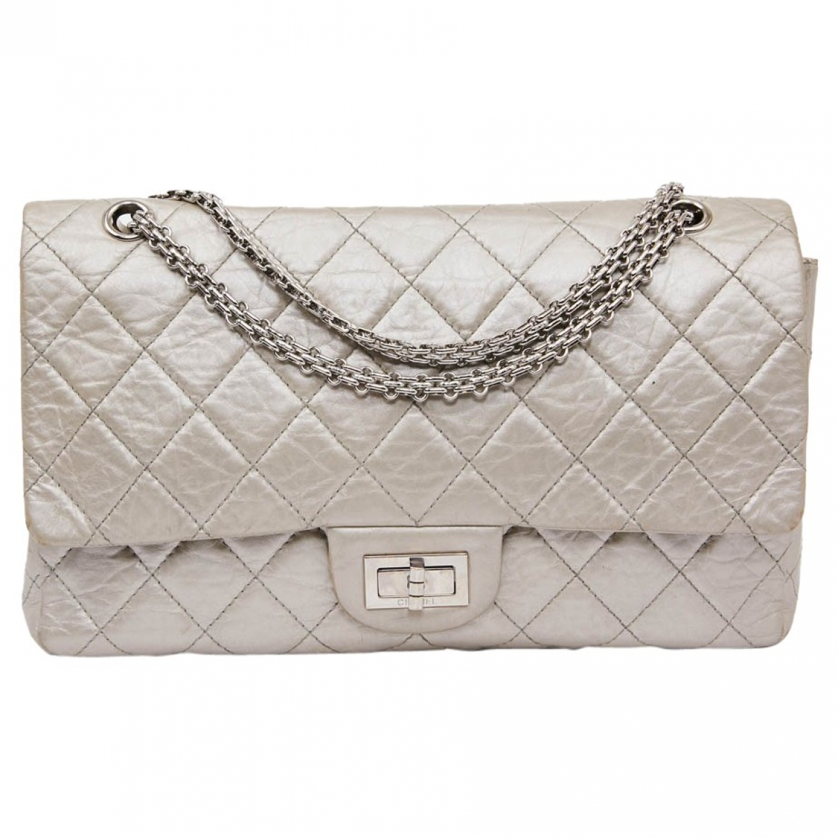 Chanel 2.55 Silver Leather handbag for Women \N