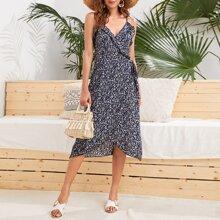 Cami Kleid mit Wickel Design, Knoten und Bluemchen Muster