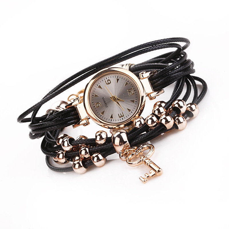 Vintage Key Pendant Bracelet Watch Winding Women Quartz Watch Ball Beading Waist Watch