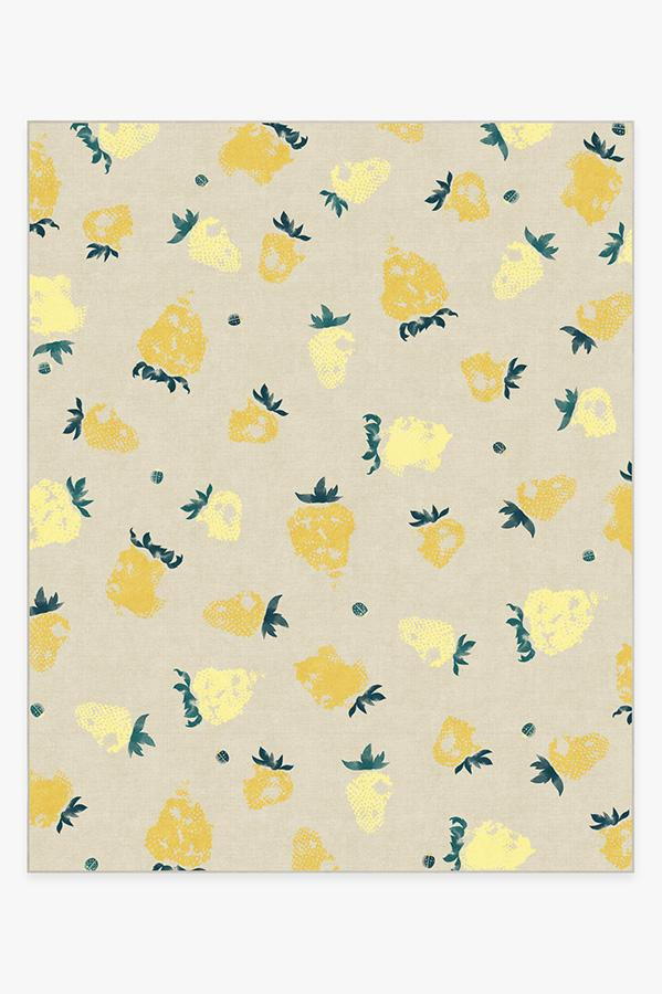 Washable Rug Cover & Pad | Strawberries Yellow Rug | Stain-Resistant | Ruggable | 8'x10'