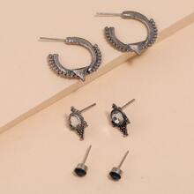 3pairs Rhinestone Earrings Set