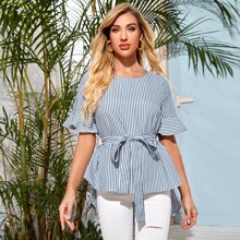 Flounce Sleeve High Low Hem Striped Belted Top