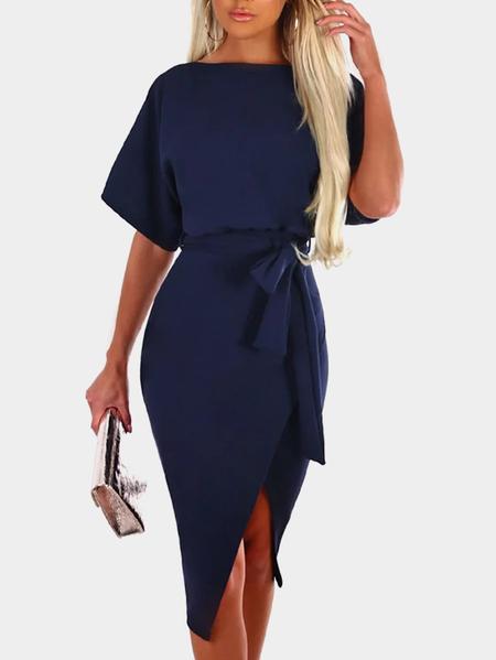 Yoins Navy Self-tie Design Short Sleeves Slit Hem Midi Dress