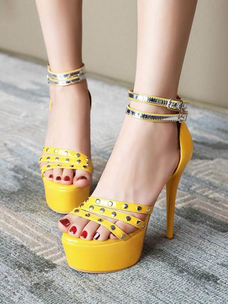 Milanoo Sandalias sexy de tacon alto Zapatos de cuero con punta redonda de cuero PU