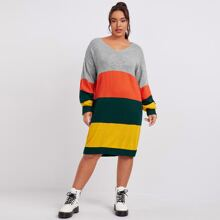 Plus V-neck Drop Shoulder Colorblock Sweater Dress