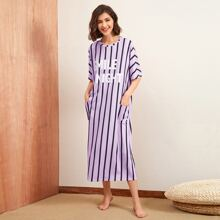Pocket Front Striped and Slogan Nightdress