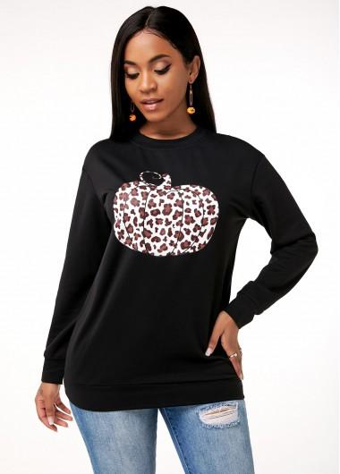Round Neck Long Sleeve Leopard Print Sweatshirt - M