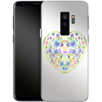 Samsung Galaxy S9 Plus Silikon Handyhuelle - Love Folk Olive Green von Amy Sia