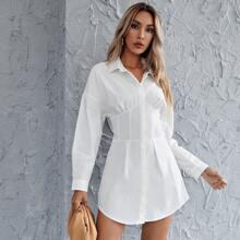Hidden button Pleated Waist Shirt Dress