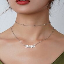 Letter Charm Layered Necklace