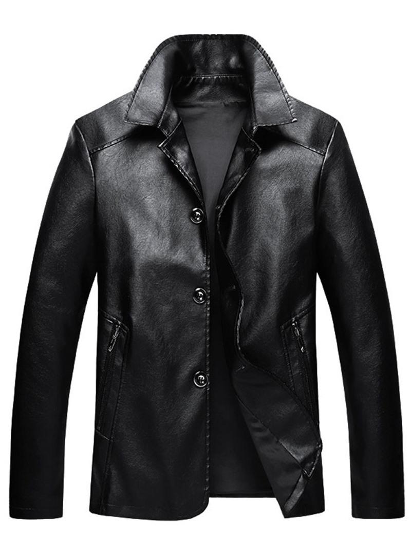 Ericdress Standard Lapel Plain Single-Breasted Slim Leather Jacket