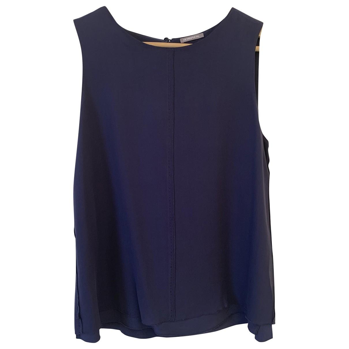 Hemisphere - Top   pour femme en soie - bleu