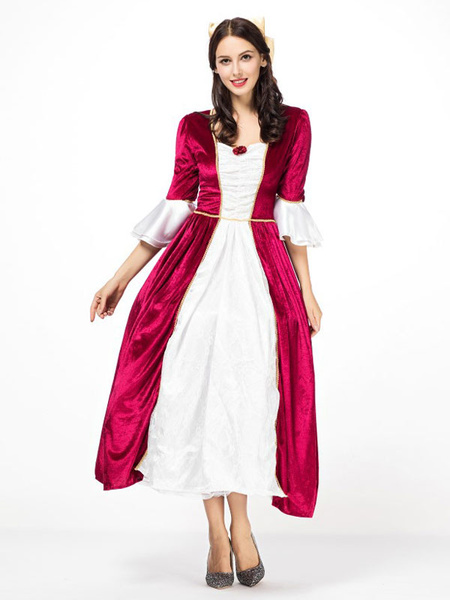 Milanoo Victorian era Clothing Retro Costume Women's Princess Queen Red Round Neck Half Sleeves Costume Vintage Dresses