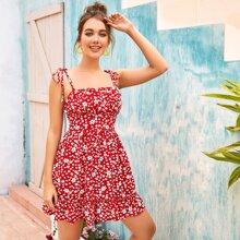 Cami Kleid mit Raffungsaum, geraffter Rueckseite und Bluemchen Muster