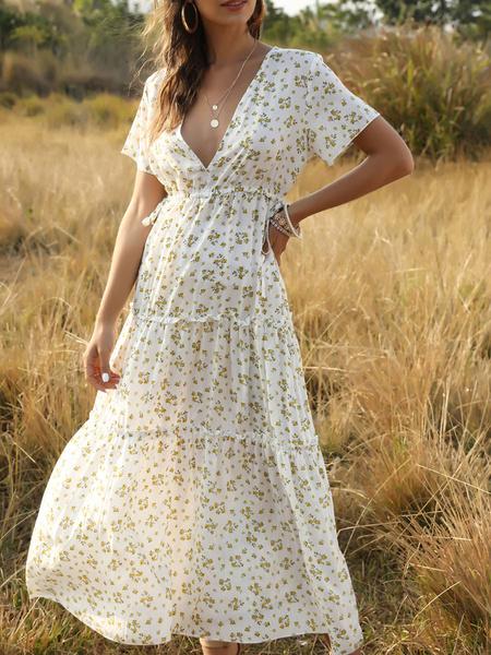 Milanoo Boho Maxi Dress V Neck Short Sleeves Floral Print Summer Dress