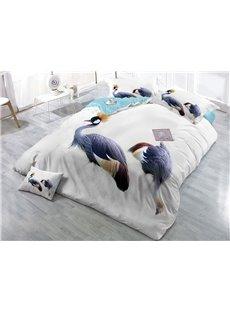 Two Cranes Wear-resistant Breathable High Quality 60s Cotton 4-Piece 3D Bedding Sets