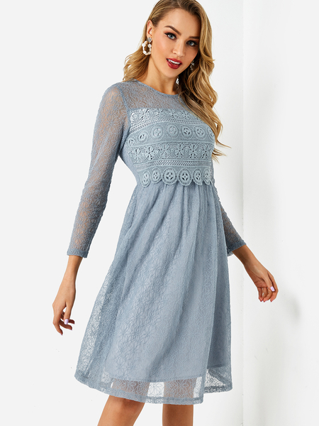 Yoins Blue Lace Round Neck 3/4 Length Sleeves Midi Dress